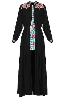 Black Appliqued Cape with Kurta and Pants