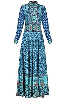 Blue Tassel Embellished Printed Maxi Dress by Ashima Leena