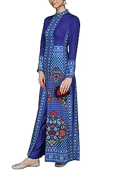 Blue Printed Maxi Dress by Ashima Leena
