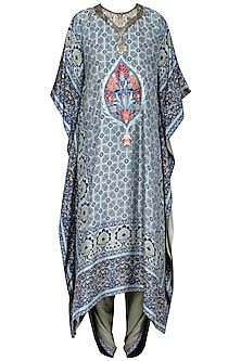 Blue Printed Kaftan with Grey Dhoti Pants by Ashima Leena