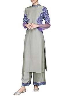 Turquoise and Grey Kurta with Pants by Ashima Leena