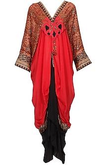 Red and black brocade textured and paisley printed kaftan kurta by Ashima Leena