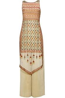 Beige kilim printed kurta and pleated palazzo pants set