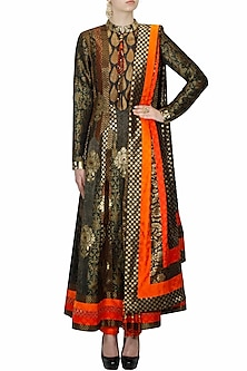 Black brocade textured angrakha style anarkali set by Ashima Leena