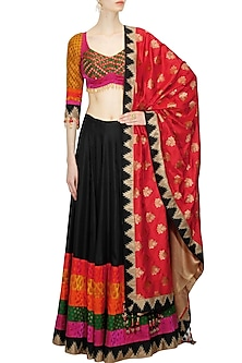 Black brocade lehenga set with multicolored blouse by Ashima Leena