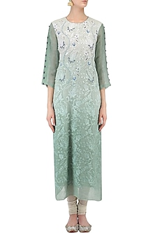 Mint Green Denim Thread Embroidered Tunic by Aaylixir