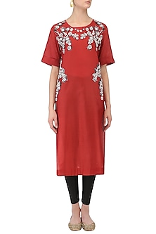 Red Floral Embroidered Tunic by Aaylixir
