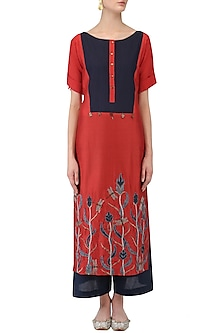 Red and Blue Floral Embroidered Tunic by Aaylixir
