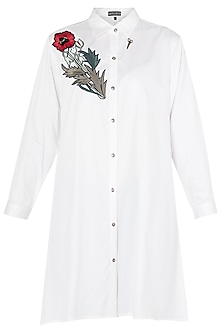 White Floral Embroidered A-Line Shirt
