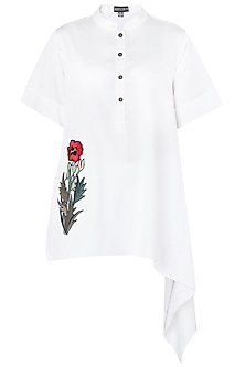White Floral Embroidered One Side Asymmetrical Shirt