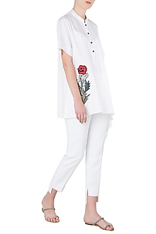 White Floral Embroidered One Side Asymmetrical Shirt by Aaylixir