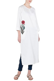 White Floral Embroidered Long Tunic by Aaylixir