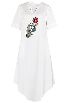 White Floral Embroidered Asymmetrical Tunic