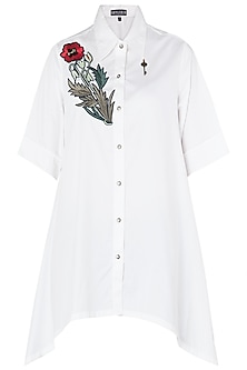 White Floral Embroidered Asymmetrical Shirt