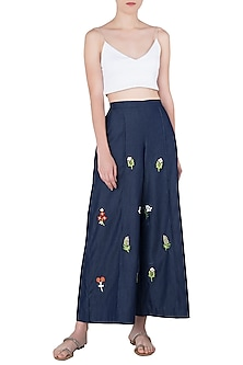 Indigo Blue Floral Embroidered Wide Leg Pants by Aaylixir