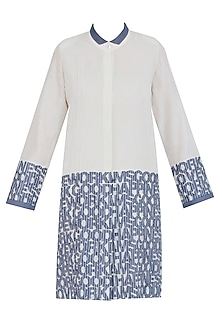 Off White Chanderi Pintuck Shirt Dress by Aaylixir