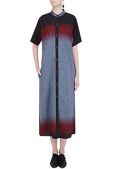 Blue, Red and Black Ombre Dyed Long Dress by Aaylixir