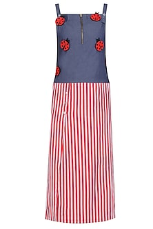 Blue and Red Lady Bug Motifs and Striped Dress