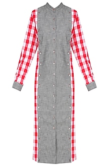 Red and White Checks and Grey Denim Dress