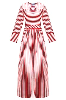 Red and White Stripes Fit and Flared Maxi Dress