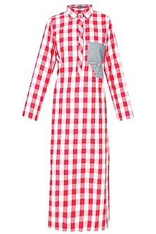 Red and White Checkered Dress With Denim Pocket
