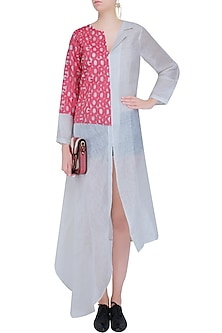 White and Red Alphabetical Cutout Linen Tunic by Aaylixir