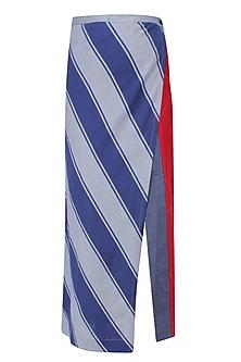 Blue Stripes Print Wrap Around Skirt by Aaylixir