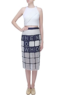 White and Blue Scrabble Knee Length Skirt by Aaylixir
