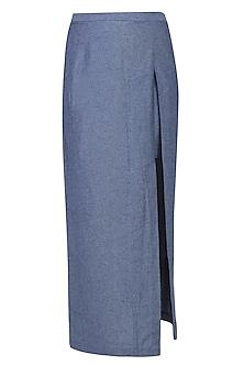 Grey Denim Sprayed Denim Skirt by Aaylixir