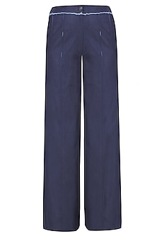 Blue Pin Tuck Ankle Length Pants by Aaylixir