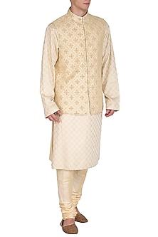 Beige Kurta Set With Embroidered Bundi Jacket by Amaare