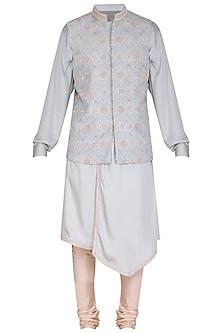 Ice Blue Kurta Set With Embroidered Bundi Jacket by Amaare