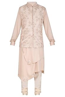 Powder Pink Kurta Set With Embroidered Bundi Jacket by Amaare