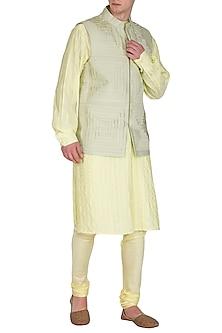 Lemon Yellow Kurta Set With Embroidered Bundi Jacket by Amaare