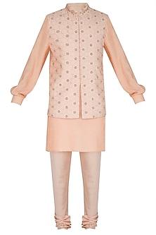 Beige & Peach Kurta Set With Embroidered Bundi Jacket by Amaare