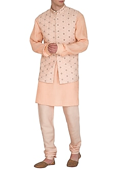 Beige & Peach Kurta Set With Embroidered Bundi Jacket by Amaare