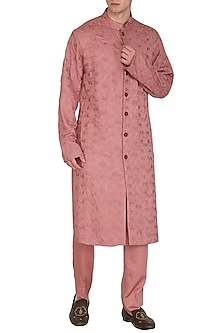 Rust Embroidered Kurta Set by Amaare