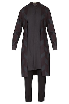 Black Printed Layered Kurta Set by Amaare