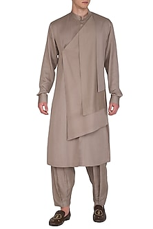 Biscuit Brown Layered Kurta Set by Amaare