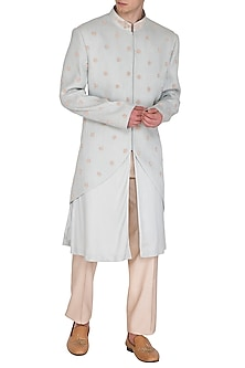 Ice Blue Embroidered & Printed Sherwani Set by Amaare