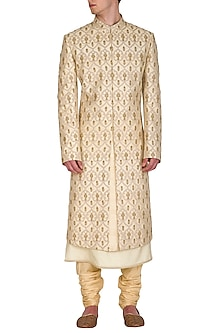 Golden Embroidered Sherwani Set by Amaare