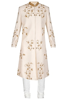 Ivory Floral Embroidered Sherwani Set by Amaare