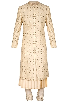 Gold Embroidered Sherwani Set by Amaare