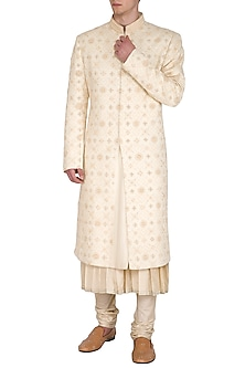Gold Foil Printed Sherwani Set by Amaare