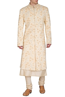 Ivory Embroidered Sherwani Set by Amaare