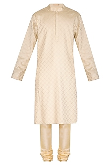 Beige Embroidered Pintuck Kurta Set by Amaare
