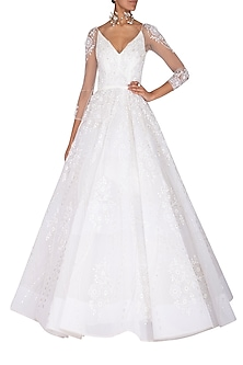 White Embroidered Ball Gown by AMIT GT