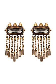 Oxidised Gold Plated Pristine Earrings With Swarovski Crystals by Amrapali X Confluence