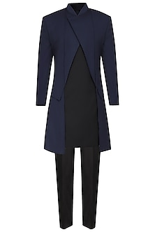 Navy Blue Asymmetrical Long Jacket by Amaare