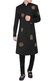 Black Embroidered Long Jacket by Amaare
